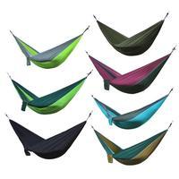 Náilon dupla pessoa hammock adulto acampamento ao ar livre mochila viagem sobrevivência jardim balanço caça cama de dormir portátil rede Redes     -