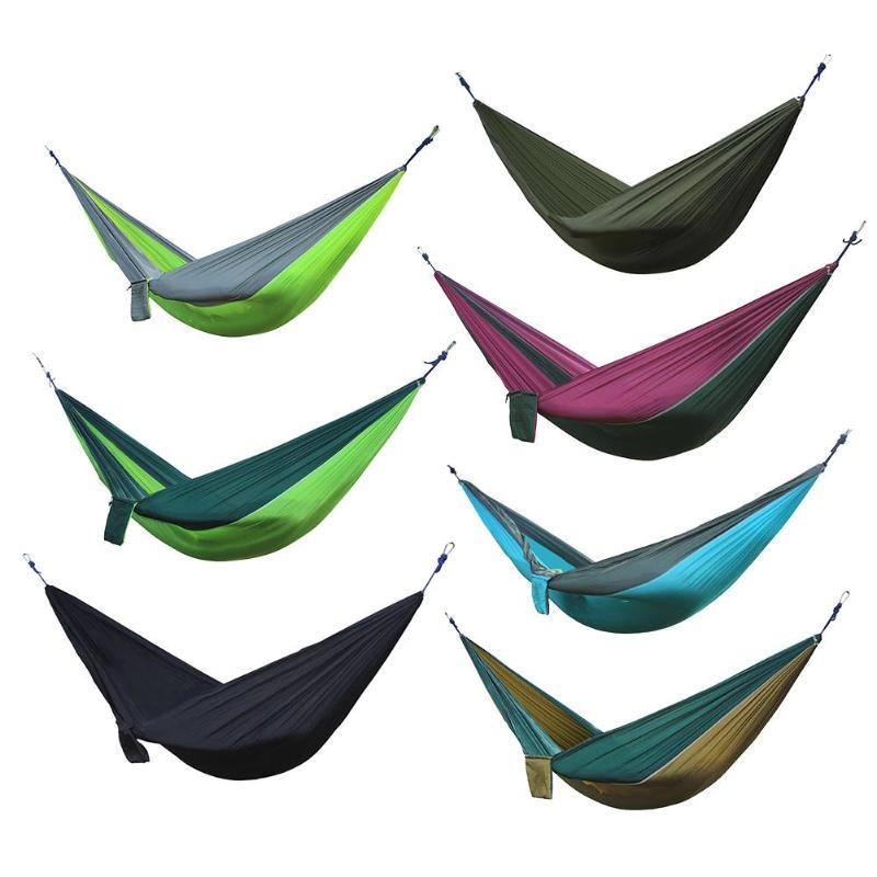 Nylon Double Orang Tempat Tidur Gantung Dewasa Camping Outdoor Backpacking Perjalanan Kelangsungan Hidup Garden Swing Berburu Tidur Tidur Portable Hammock