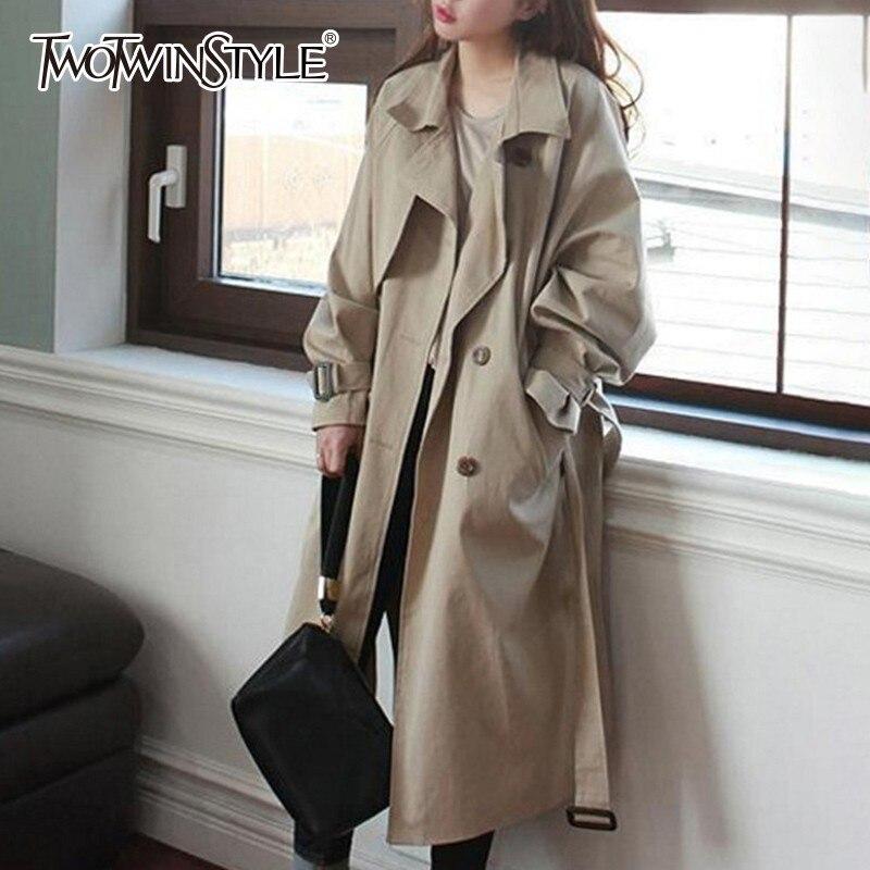 TWOTWINSTYLE Basic Trench Coats Female Lapel Collar Long Sleeve Bandage Side Split Women s Windbreaker 2019