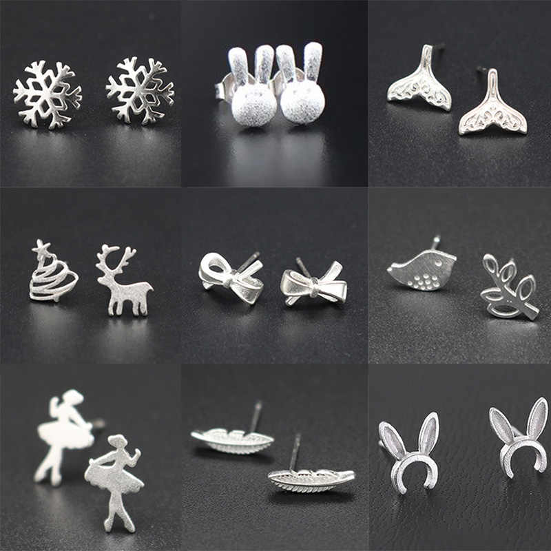 Dainty Snowflake Reindeer Christmas Silver Stud Earrings for Women Girl's Angel Gift Fashion Jewelry Crown Bow Hypoallergenic