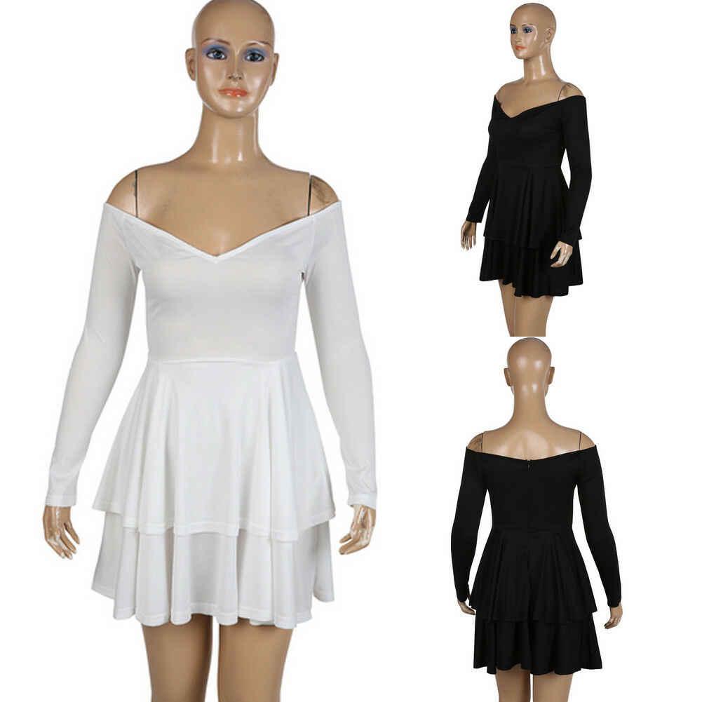 הכי חדש מוצק v-צוואר ארוך שרוול סקסי קיץ slim מילה אחת צווארון נשים של תחבושת Bodycon ערב מסיבת מועדון קצר מיני שמלה