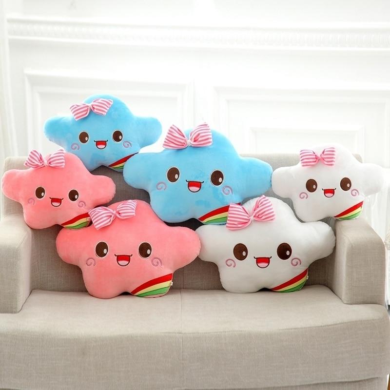 Kawaii souriant visage en peluche oreiller jouets en peluche doux nuage coussin couvre décoration maison noel enfants filles cadeaux PP coton