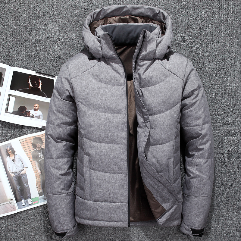 Fashion men's hooded   down   jackets Autumn Winter mens Solid color thick warm White duck   down     coats   male windproof zipper outwears