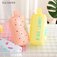 Large Bag Pencil Case For Student Girl Cute School Stationery Supplies Gift Big Kawaii Silicone SUMMER Fruit Pen Box Zipper(China)