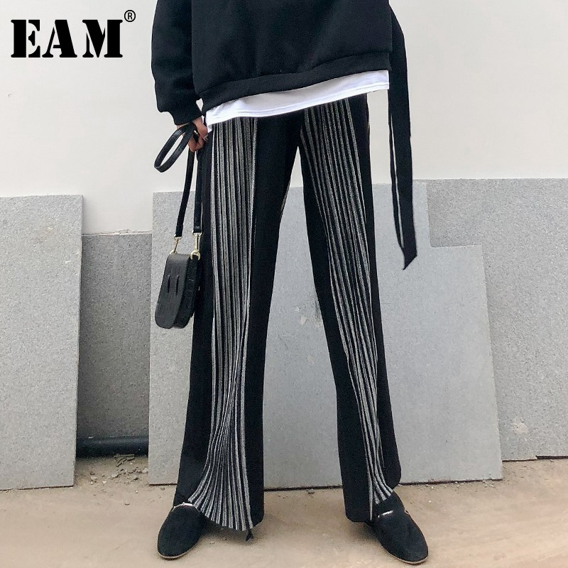 [EAM] 2019 New Spring Summer High Elastic Waist Black Pleated Stitch Loose   Wide     Leg     Pants   Women Trousers Fashion Tide JL955