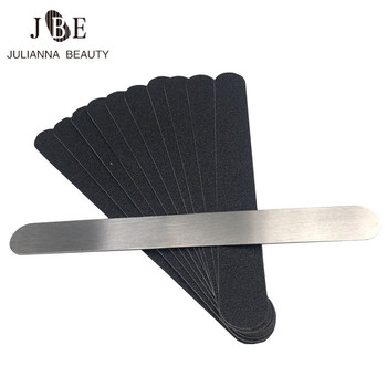 10pcs Double-sided Replacement Sand Paper Nail File With Metal Handle Nail Polish Sanding Buffer Strips Nail Polishing Manicure