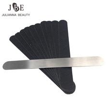 10pcs דו צדדי החלפת חול נייר פצירה עם מתכת ידית לק מלטש חיץ רצועות נייל ליטוש מניקור