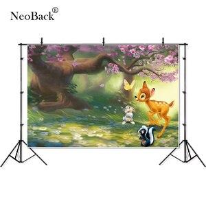 Image 2 - Neoback春の妖精花ツリー鹿ウサギの王女子供写真撮影の背景誕生日スタジオ写真の背景バナー