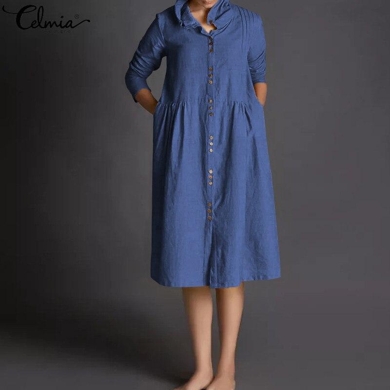 ZANZEA Women Casual Button Down Long Shirt Dress Loose Solid Midi Sundress Plus