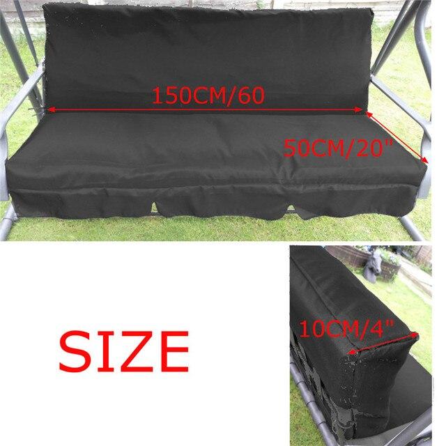 150CM 3 plazas de jardín columpio cojín 5 colores impermeable a prueba de polvo silla toldo de reemplazo de tela de repuesto cubierta de polvo
