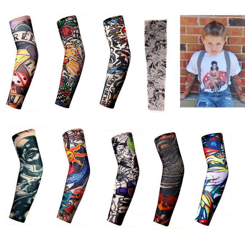 Anti-Sunshine Fashion Men and Women Tattoo Arm Leg Sleeves High Elastic Nylon Halloween Party Dance Party Tattoo Sleeve