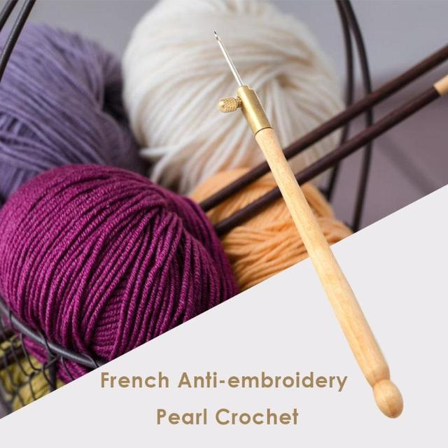 1 Pcs Wooden Handle Tambour Crochet Hook with 3 Needles French Crochet Embroidery Beading Hoop Sewing Tool Set DIY Craft