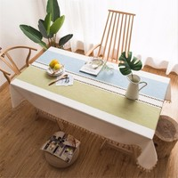 New Tablecloth Cotton Linen Rectangular Tablecloth With Lace Tassel Modern Style Picnic Table Cover Can Be Customized Home Decor