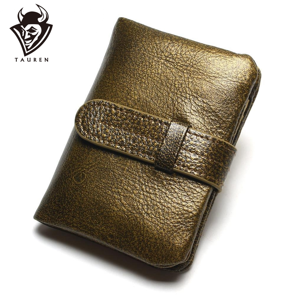 100% Luxury Vintage Casual Real Äkta Cowhide Oil Wax Läder Lady Gloden Färg Kvinnor Plånböcker Purse Coin Pocket Female Zipper