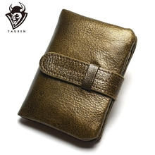 100% Luxury Vintage Casual Real Genuine Cowhide Oil Wax Leather Lady Gloden Color Women Wallets Purse Coin Pocket Female Zipper
