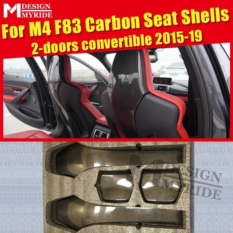 F83 Seat Back Shells Cover Carbon Gloss Black Interior For BMW F83 M4 2-doors Convertible Seat Back Shells 420i 430i 435i 15-19