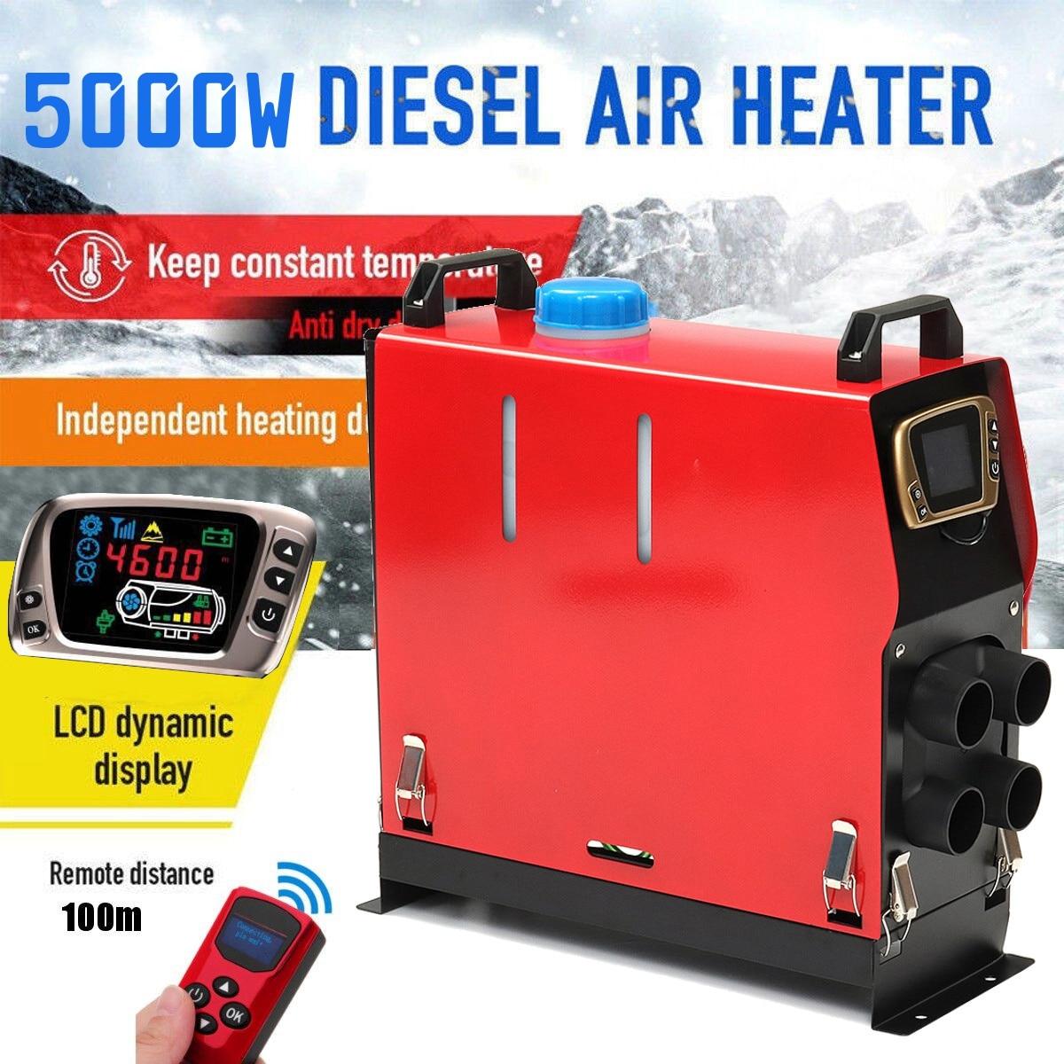 Tout En Un 5000 w Air diesels Chauffe-5KW 12 v Chauffage De la Voiture Pour Camions Moteur-Maisons Bateaux Bus + date LCD Interrupteur à clé + télécommande