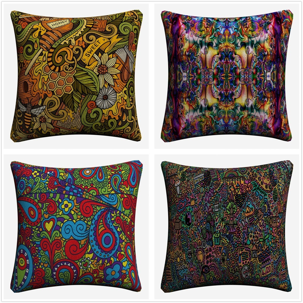 Abstract Psychedelic LSD Flowers Decorative Throw Pillow Case Sofa 45x45cm Linen Cushion Covers Home Decor Pillowcase Almofada in Cushion Cover from Home Garden