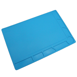34x23cm Heat Insulation Silicone Pad Desk Mat Maintenance Platform Soldering,blue