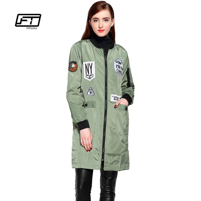 Fitaylor New Autumn Women Emboridery Trench Coats Cartoon Print Slim Windbreaker Baseball Casual Hooded Green Military Outwear