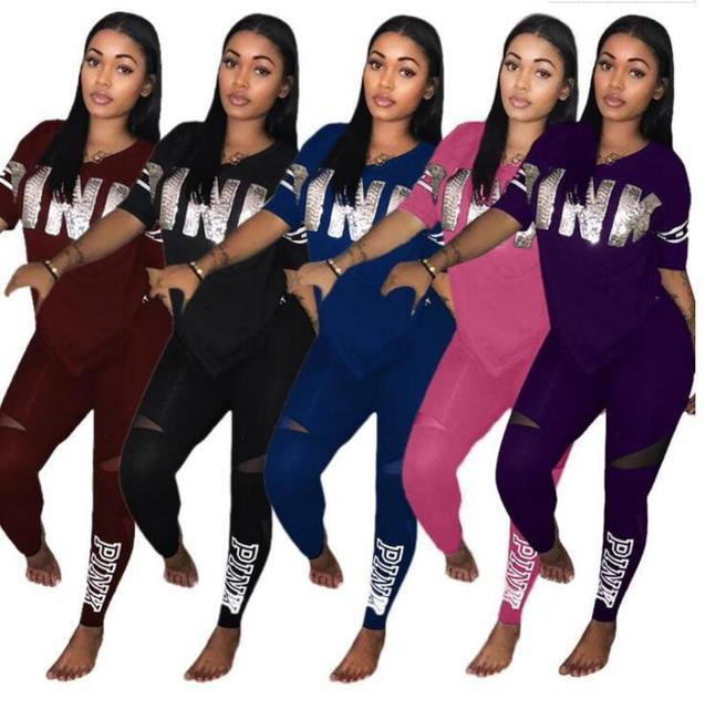 Two Piece Set 2019 Summer Women Sets PINK Print V-Neck T shirt Top And Pants Ladies 2 Piece Outfit Set Casual Women Tracksuit