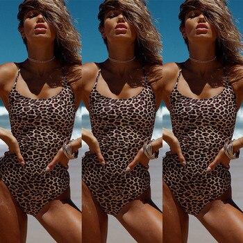 Swimsuit Woman 2019 Sexy Leopard One Piece Swimwear Female Swimsuit High Cut Leg Bathing Suit For Women Swim Wear Beach Suits 5