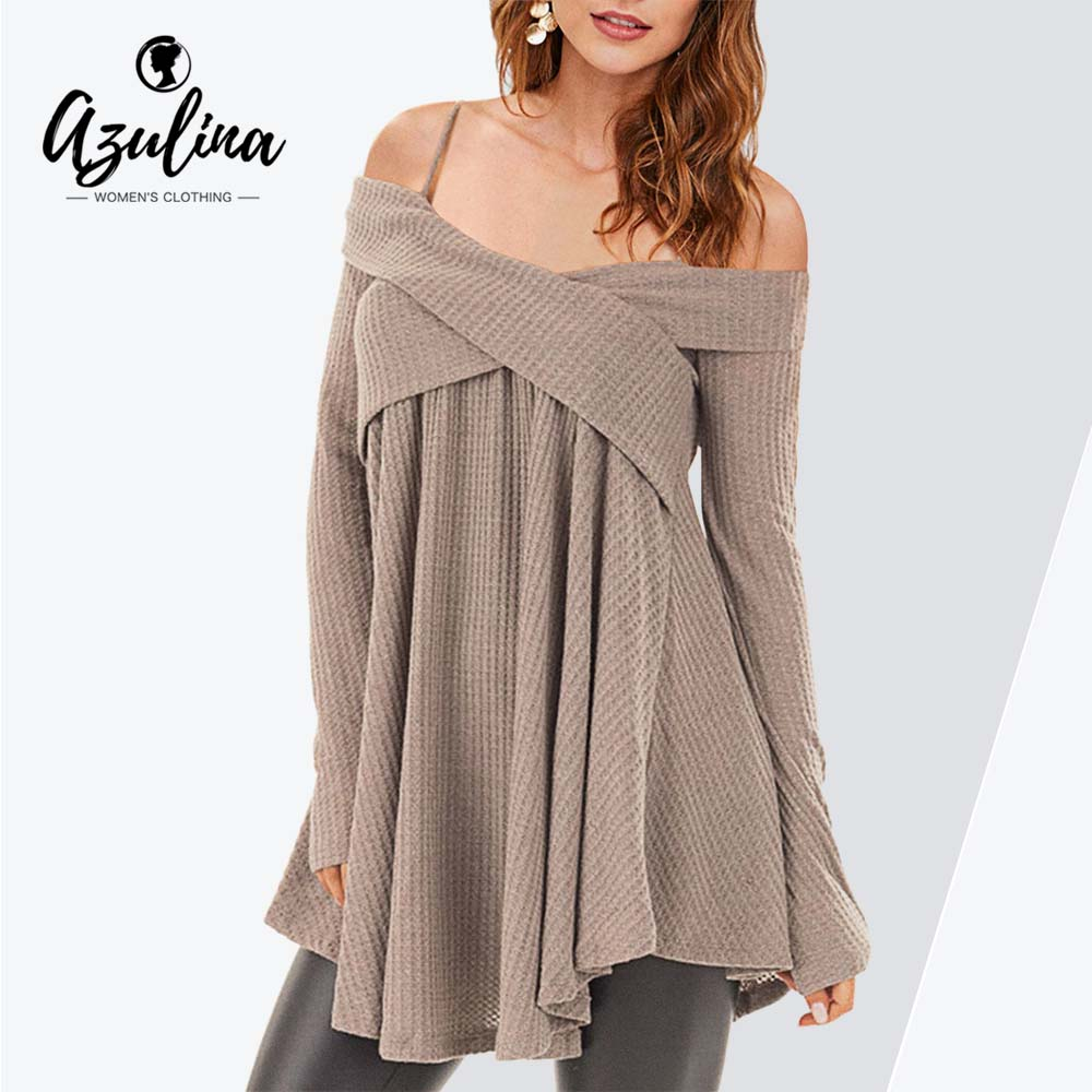 8f9b1cecbec471 Rosegal Plus Size Cold Shoulder Crisscross Tunic Sweater Casual Women Tops  Pullover Solid Loose Fall Sweaters
