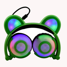 Private Mode New Pattern LED Hair Light Bear Ears Head Wear Charging Game Music Headset