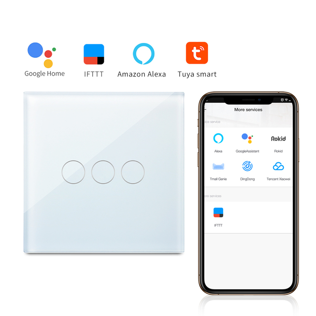 Bingoelect 3 Gang 1 Way WIFI Interruptor táctil cristal Panel de luz de pared interruptor inalámbrico Smart Home Switch soporte Tuya APP