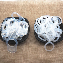Chenkai 100pcs Transparent Silicone Mam Ring DIY Baby Pacifier Dummy NUK Clear Adapter O Rings Holder Chain Toy Accessories