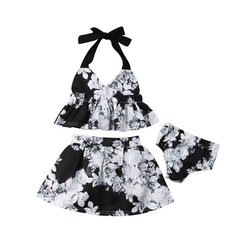 1-5t Toddler Kids Baby Girls Floral Clothes Set Boho Beach Summer Sleeveless Tops Skirt Set Cute Princess Floral Outfits Set