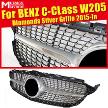 W205 Diamond Grills Grill Fits For C-class Sport C200 C250 C300 ABS Silver Without Sign Front Bumper Grille Mesh 2015-in
