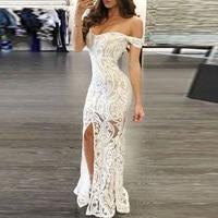 Для женщин сексуальные платья с открытыми плечами облегающее Макси платье для вечеринки белого цвета с глубоким v-образным вырезом Разделе...