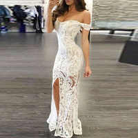 Women Sexy Off-shoulder Bodycon Maxi Dress Party white deep V neck Split floral elegant Dress