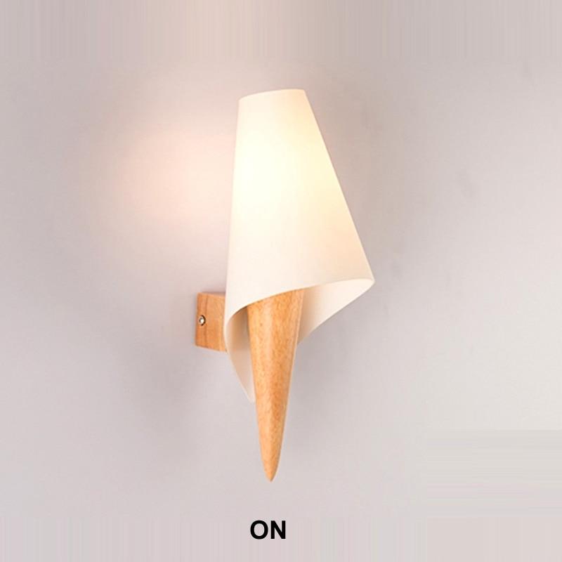 Applique Murale nordique moderne en bois lampe de mur LED moderne lampe de chevet chambre appliques murales en verre Applique Murale Luminaire moderne