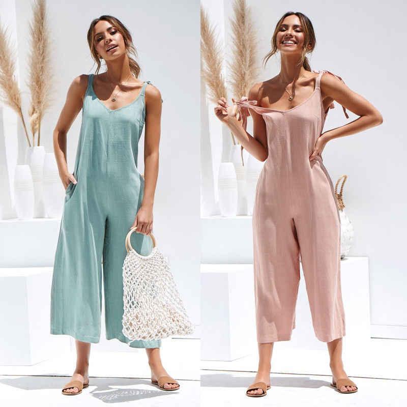 Mamelucos 2019 verano nuevas mujeres Casual suelta Lino algodón mono sin mangas Backless mono pantalones monos