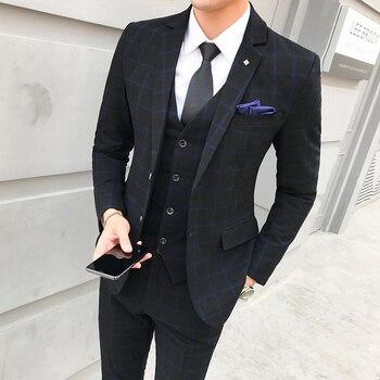 2019 new men's plaid 3 piece set Asia size S - 5XL Gray & Blue & Red Men Blazer vest pant