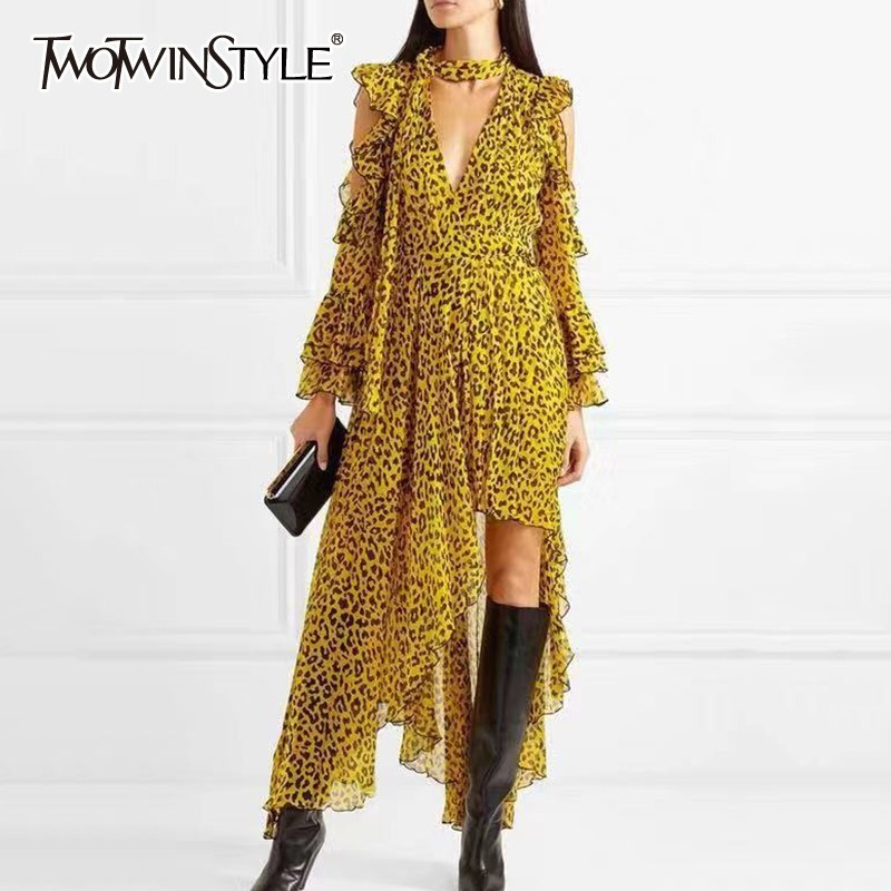 TWOTWINSTYLE Leopard Female Dresses For Women Off Shoulder Flare Sleeve Asymmetric Hem Backless Ruffles Dress Vintage Clothes