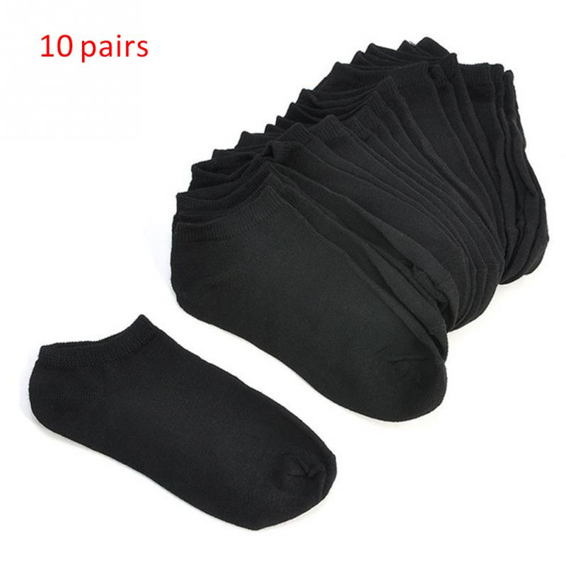 10Pairs/Set Simple Fashion Women Boat Ankle   Socks   Ladies Ultra-Thin Pure Color Low Cut Cotton Blend   Socks   Black White #25