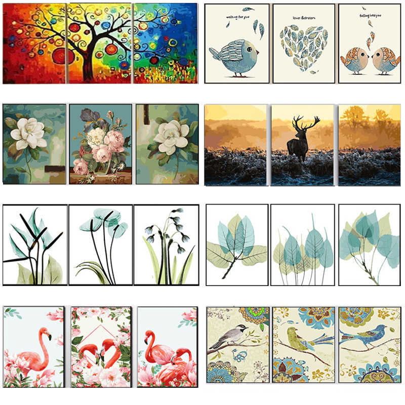 3x DIY Oil Painting by Numbers Flowers Triptych Modular Coloring Picture Deer Abstract Paint Home Decor Wall Sticker Unfinished