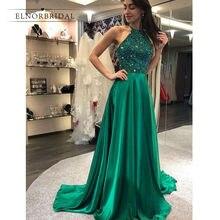 Emerald Green Beading Prom Dresses 2019 vestido de fiesta A Line Special  Occasion Dress Custom Made gala jurken Formal Gowns ed34d3adfa0c