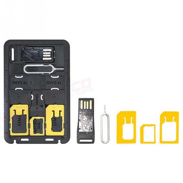 Universal Mini tarjeta SIM Adaptador caja de almacenamiento Kits para Nano Micro tarjeta SIM soporte de tarjeta de memoria