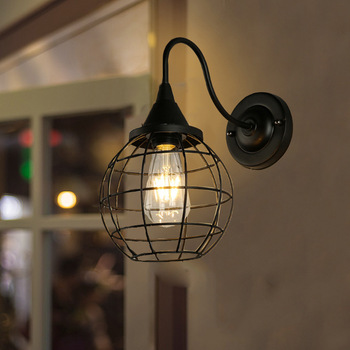Wind Wrought Iron Cage Wall Lamp Continuous System A Living Room Bedroom Bedside Lamp Aisle Corridor Round Ball Wall Lamp
