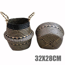 1pcs Mayitr Foldable Natural Seagrass Woven Belly Basket Leaf Home Decoration Pot Storage Baskets 3 Size