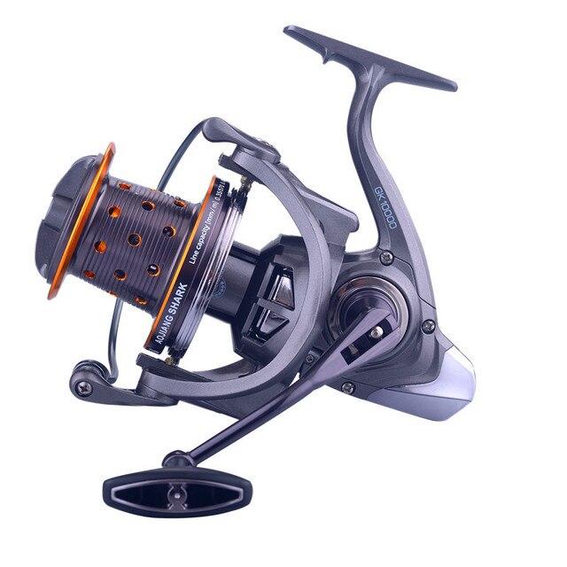 GK9000 alambre de Metal taza ancla rueda de pescado ultraligero Acero inoxidable rodamiento lago pesca rueda giratoria fuerza de frenado 10 15 kg