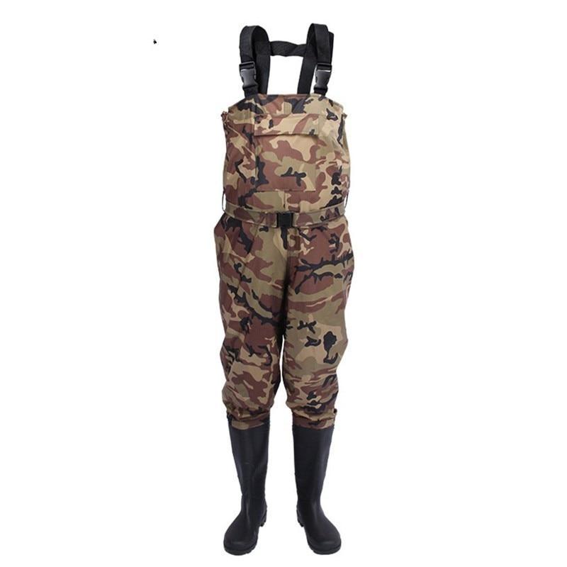 Outdoor Camouflage Hunting Farming Pants Euro 38-47 Men Waterproof Anti-wear Waders Pants Boots Fishing Suspender Jumpsuit A9252