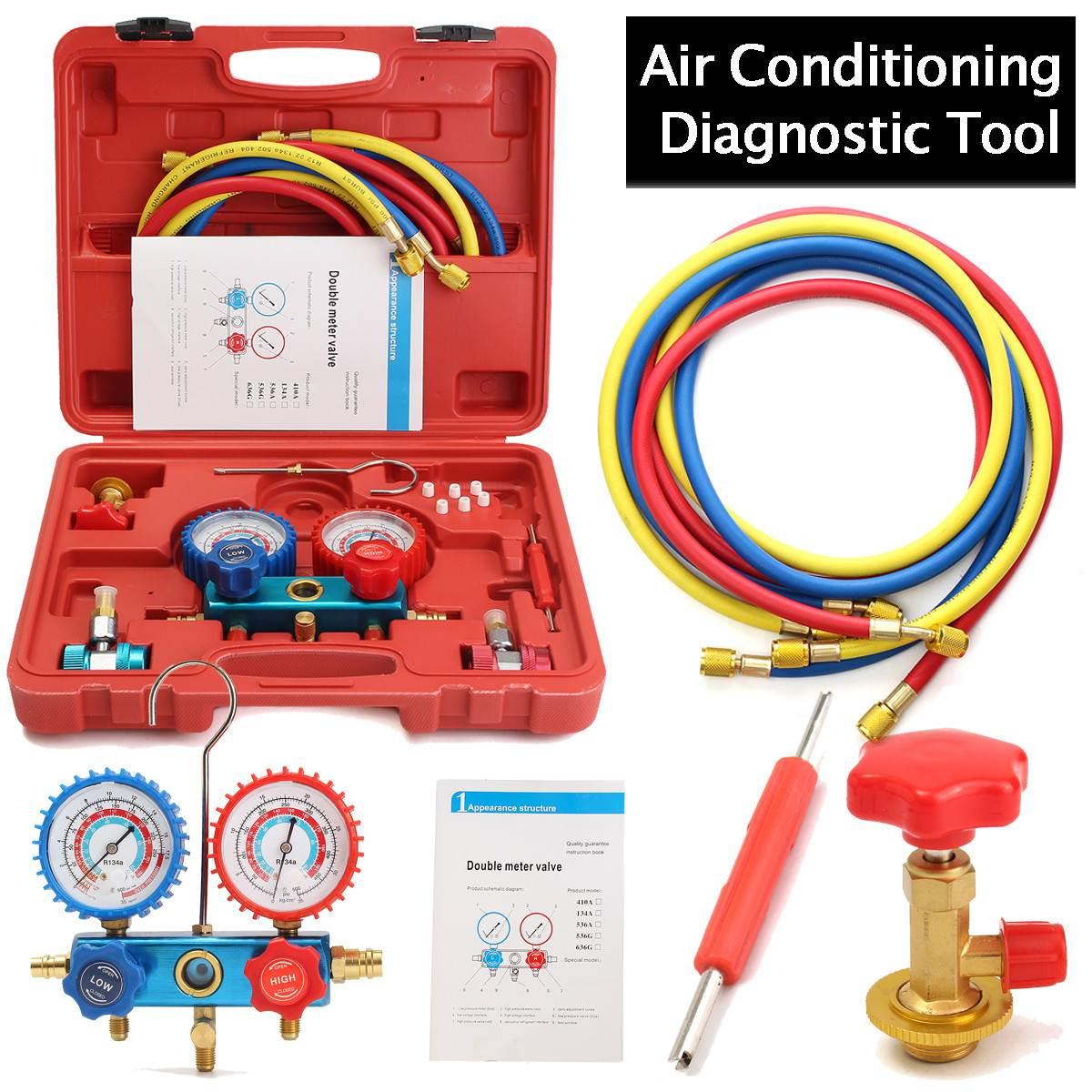 Carro Ar Condicionado HVAC R134A A/C Kit De Refrigeração AC Manifold Calibre Set Kit de Serviço de Auto Reparo Flúor de Enchimento ferramenta