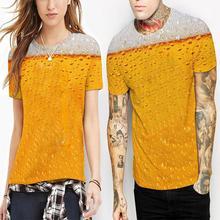 ZACOO Men Women Cool 3D Digital Beer Liquid Printing Casual T-shirt