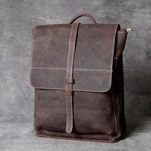 2019 new Handmade men crazy horse leather shoulder bag leather large capacity backpack simple casual men Laptop bag wave
