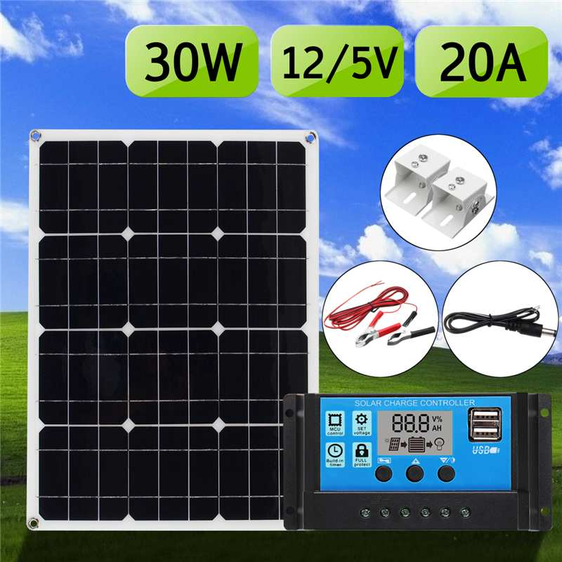 Meilleur Prix 5in1 30 W 12 V/5 V DC USB kit panneau solaire 20A PWM Multifonction chargeur solaire Contrôleur 30 cm DC câble mâle